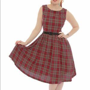 Lindy Bop 'Audrey' red tartan swing dress